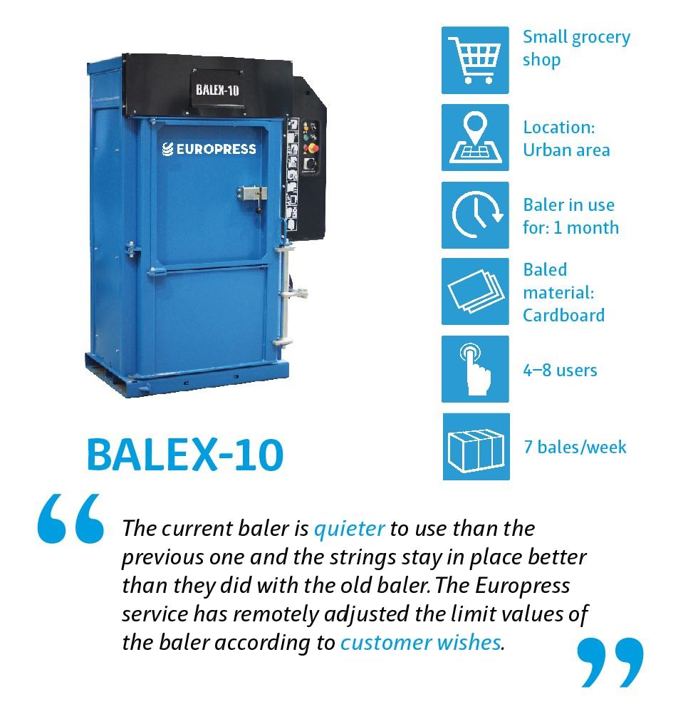 Balex-10 waste baler for company waste management