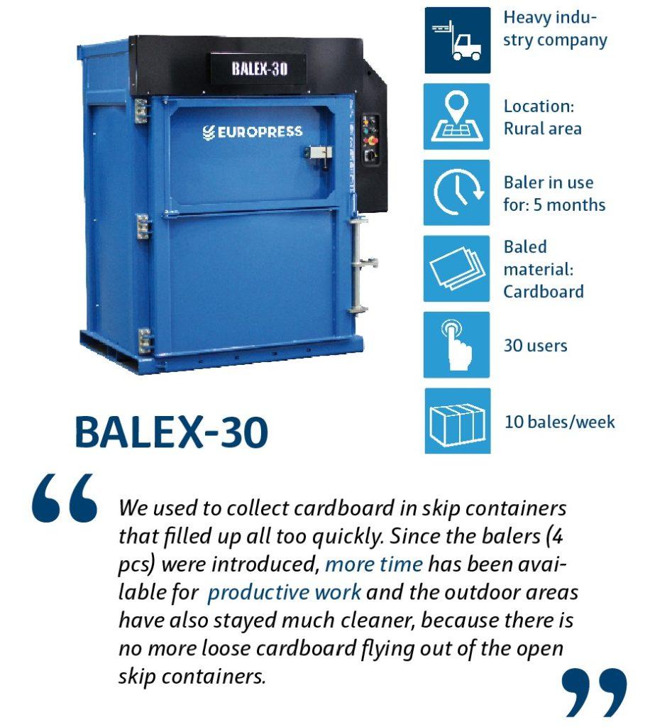 Balex-30 waste baler for company waste management
