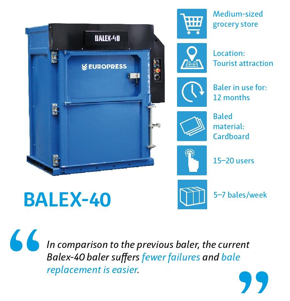 Balex-40 waste baler for company waste management