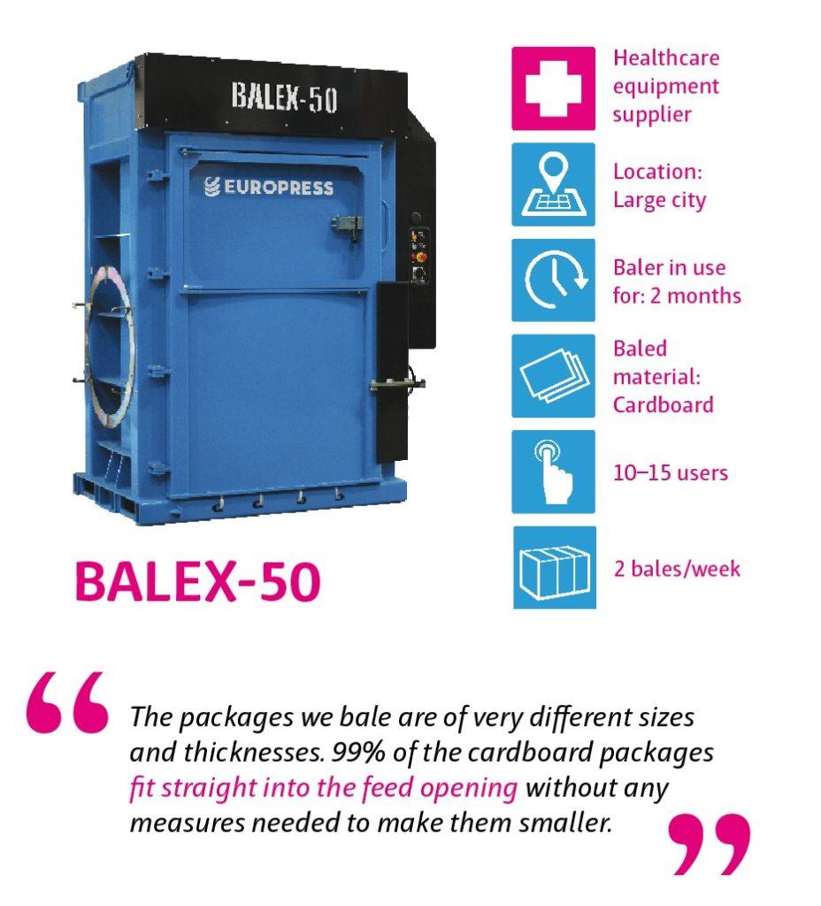 Balex-50 waste baler for company waste management