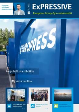 Europress EXPRESSIVE asiakaslehti kertoo jätepuristimista, jätepaalaimista ja jätehuoltolaitteiden huoltopalveluista